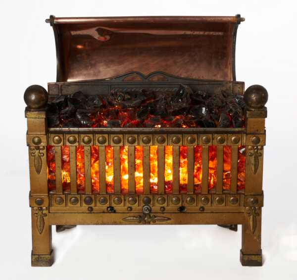 1. Photo of a simulated bronze fire basket
