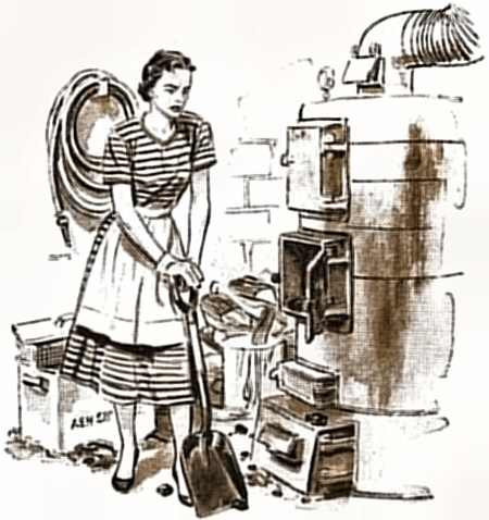 1. Drawing of a woman resting her hands on her shovel next to her coal-fired furnace