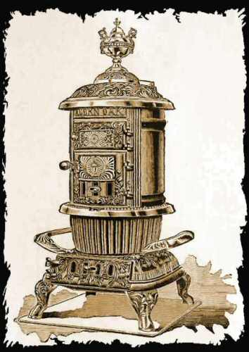 4. Image of a  pricier stove that could burn wood or coal