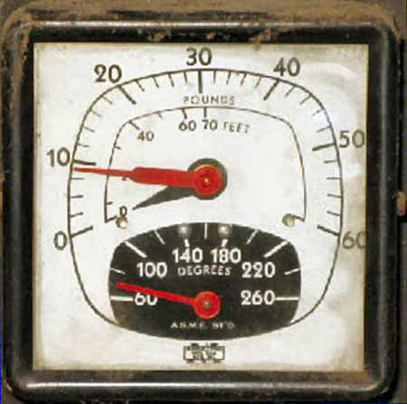 2. Photo of a pressure/temperature gauge mounted on an old boiler