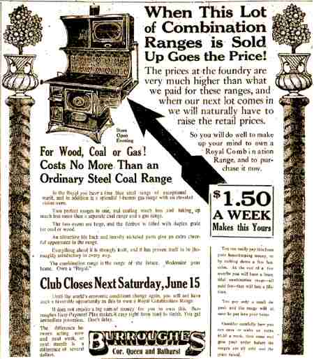 3. Advertisement for a stove that burned wood, coal or gas
