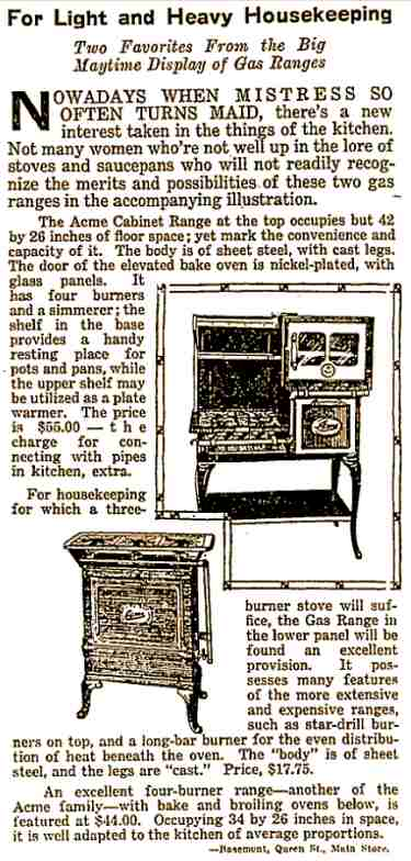 4. Advertisement for a gas cabinet range
