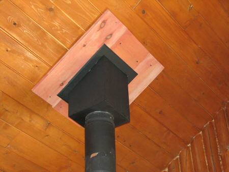 4. Image of a modern woodstove chimney pipe passing through a ceiling