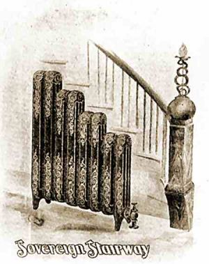 1. Drawing of a radiator array for a staircase